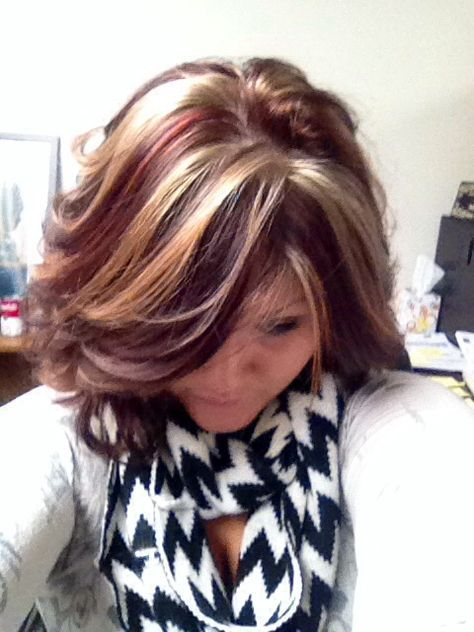 Red & Blonde highlights! like this just less chunky!