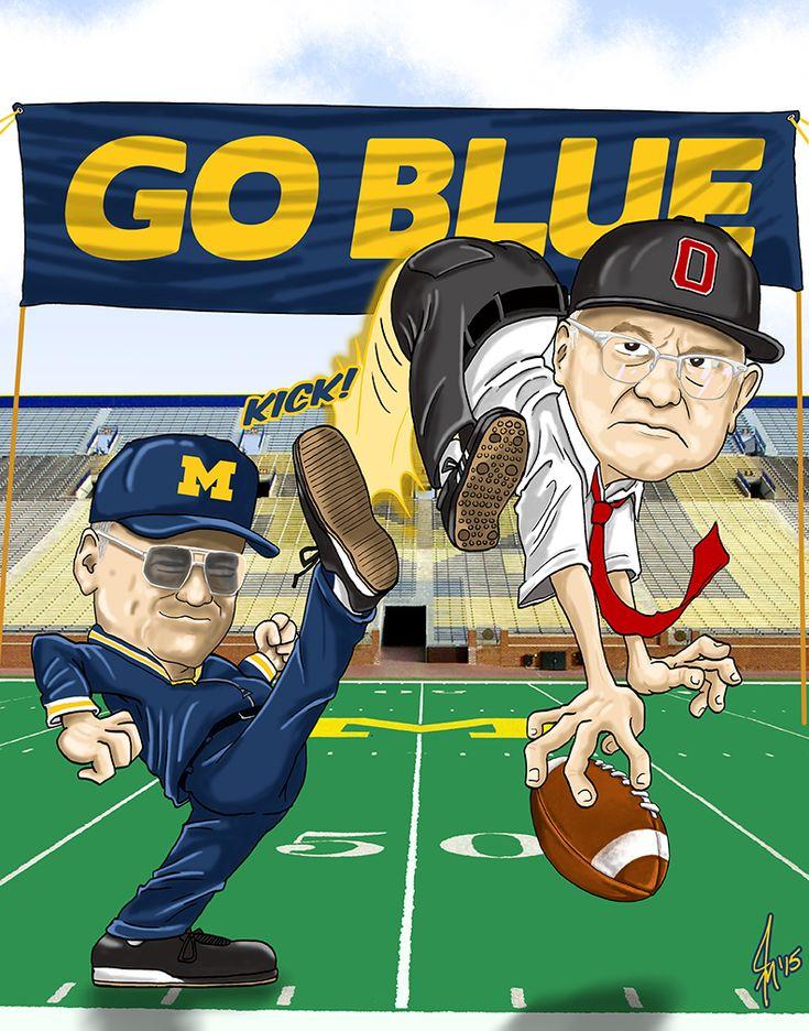 Bo Schembechler Michigan Wolverines vs Woody Hayes Ohio State Buckeyes Caricature Cartoon
