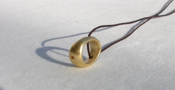 ' Egg ' pendant silver and gold plated with a little semi precious stone