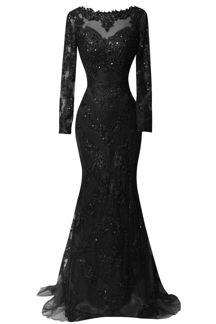 ORIENT BRIDE Scoop Beaded Appliques Formal Evening Dresses with Long Sleeves Size 14 US Black