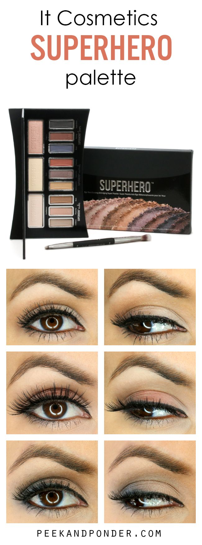 3 looks using the It Cosmetics Superhero palette. This palette has 12 shades and is really good quality! Great pigmentation and variety of colors.