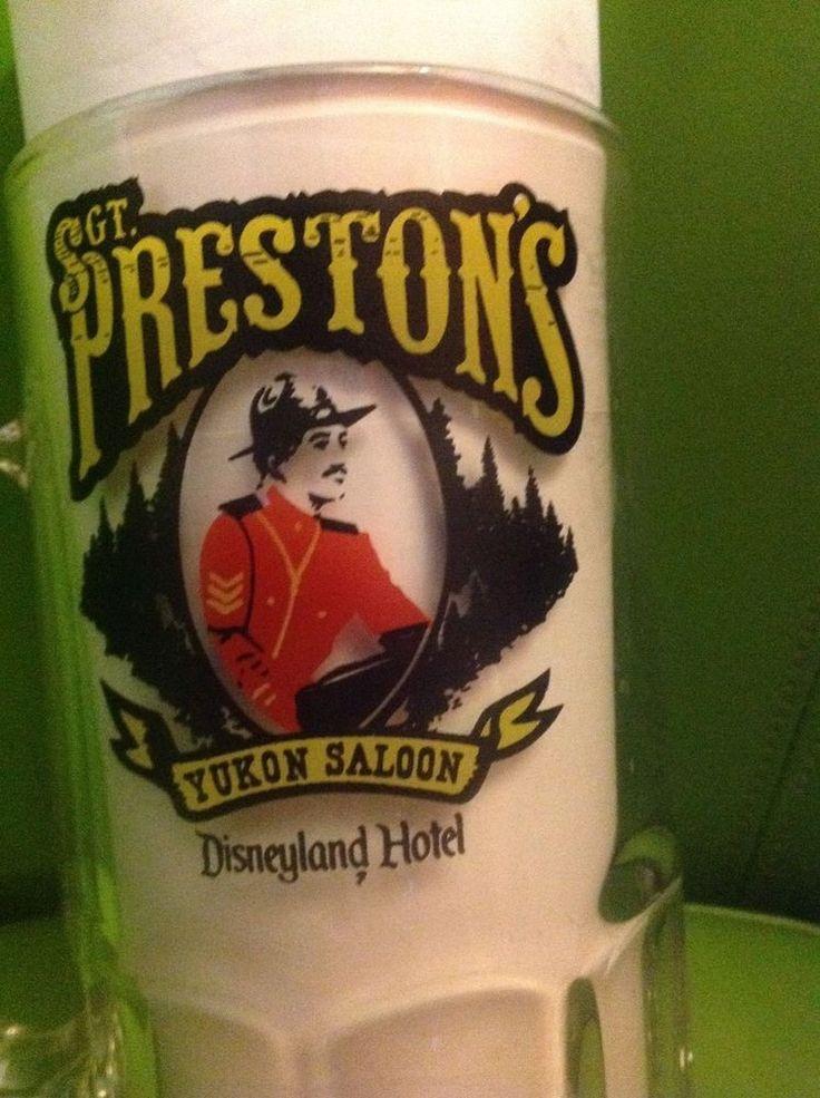 Vintage Sgt Preston's Yukon Saloon DisneyLand Hotel Disney Large Glass Mug Stein