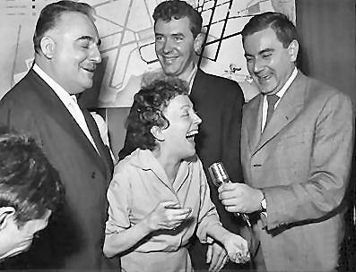 Edith Piaf with Bruno Coquatrix and Douglas Davis