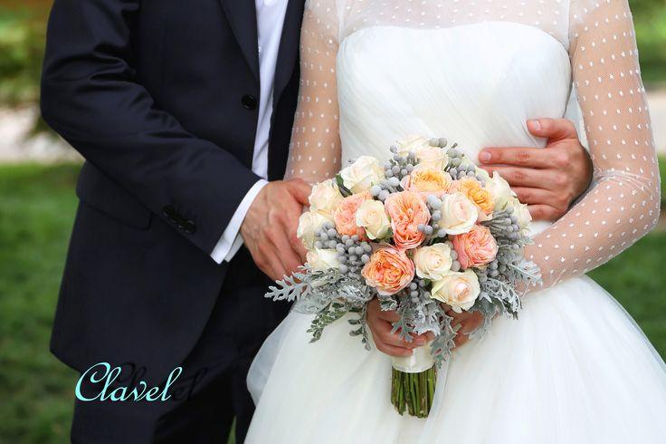 bridal bouquet, David Austin, peach