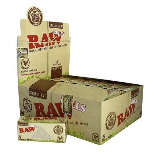 Τα οικολογικά χαρτάκια Raw Organic σε ρολό μήκους 5 μέτρων και πλάτους 4,40 cm, ώστε να κόβετε το χαρτάκι στο επιθυμητό μήκος . Κατασκευάζονται από κάνναβη το οποίο έχει καλλιεργηθεί χωρίς χημικά. Δεν περιέχουν χλωρίνη ή κάποια άλλη χημική ουσία, ενώ καίγονται εξαιρετικά αργά.