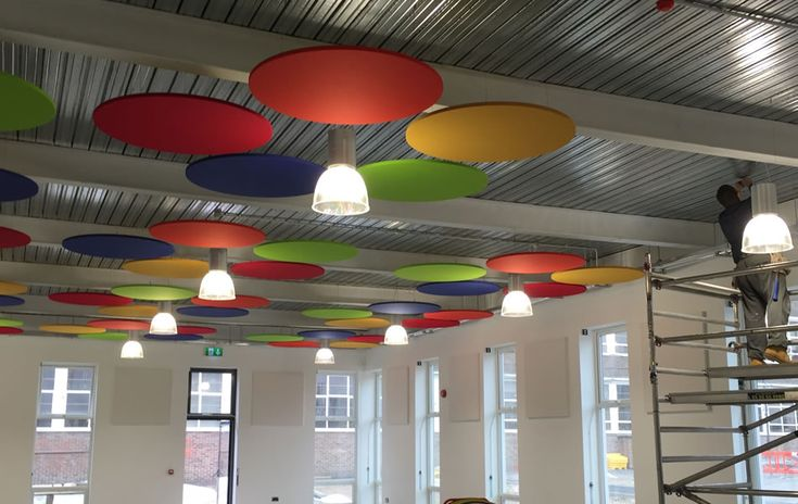 Acoustic Ceiling Tiles suspended in open office