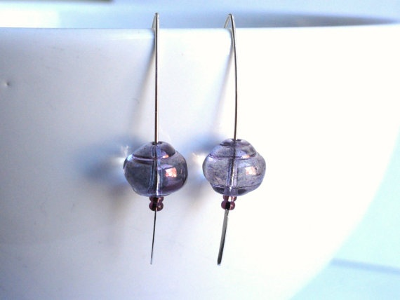 Marquise earrings  hammered ear wires  purple by handmadeintoronto, $24.00