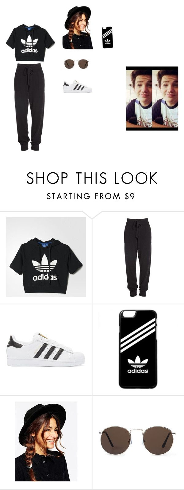 """Aarom Carpenter by Erin"" by lilybitts ❤ liked on Polyvore featuring adidas, Donna Karan, adidas Originals, ASOS and MANGO"