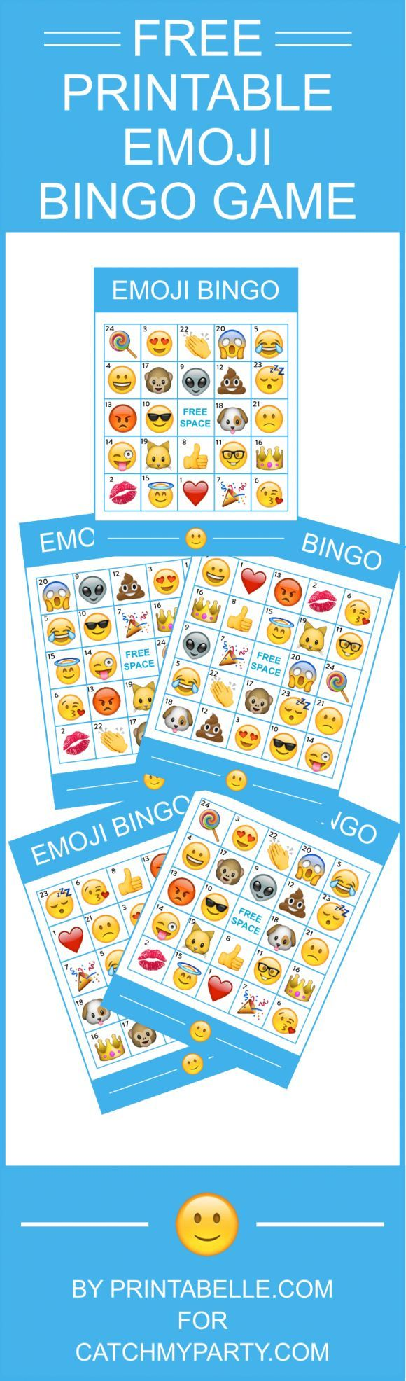 Free Printable Emoji Bingo Game - comes with 8 bingo cards and instructions! This is the perfect birthday party activity!