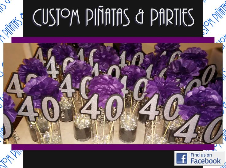 Over the hill 40th birthday party table centerpieces for 40th birthday party decoration