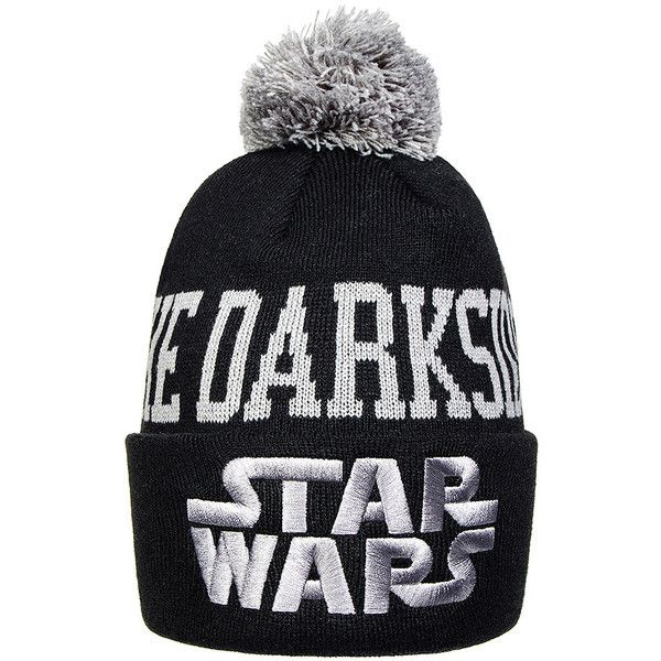 Star Wars The Darkside Bobble Hat (Black) ($19) ❤ liked on Polyvore featuring accessories, hats, black hat, bobble hat and bobble beanie