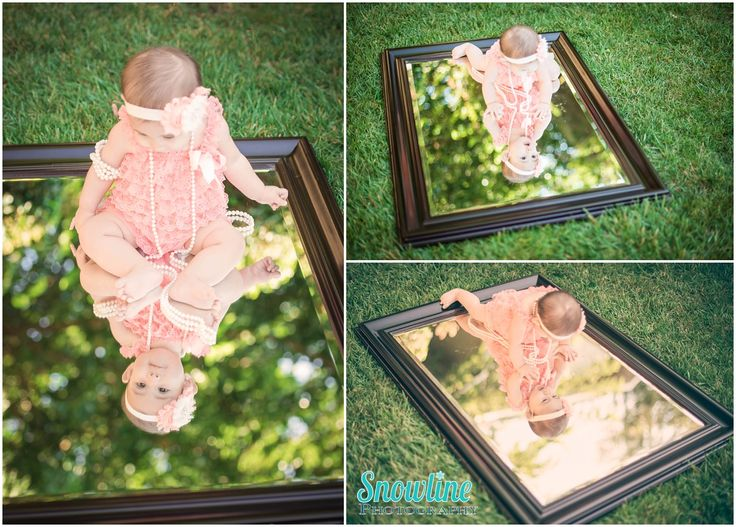 Outdoor baby photography with a mirror, 6 months old.  www.snowlinephotography.com