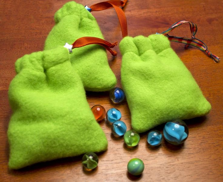 DIY fleece pouch. Add marbles and you have a great item for your boy box!