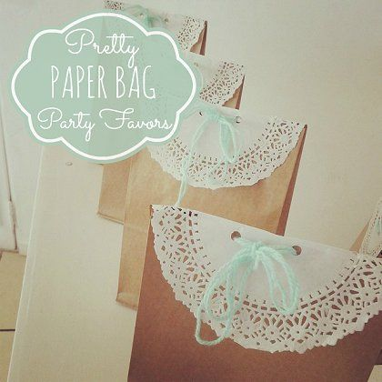 Pretty Paper Bag Party Favors #paperbagfavors