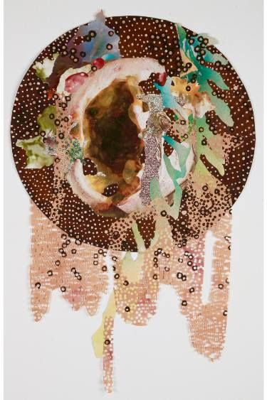 Mary A. Johnson 'Staurozoanastic Cavity' Prints available at Saatchi. www.maryajohnson.com #naturaldye #contemporarydrawing #art #collage