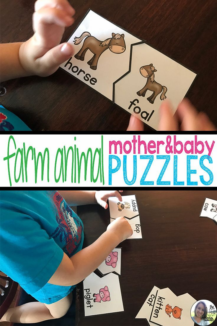 These are Montessori inspired farm animal mother and baby puzzles.  They are pack of a farm animal bundle from The Super Teacher with lots of activities for preschool and kindergarten.  They will go great with a farm unit study!