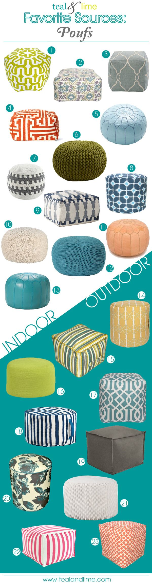 Poufs, poufs, everywhere! No really, they are everywhere. As they should be. Poufs are a foot stool, an extra seat, or a small ottoman. Poufs are an opportunity to layer in another texture, pattern...