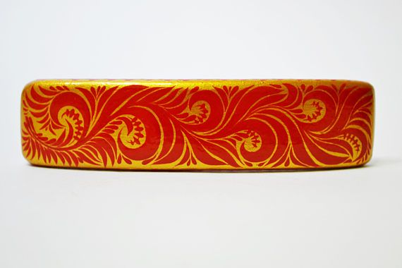 Hair Barrette Hand painted Wooden Hair Clip Russian style