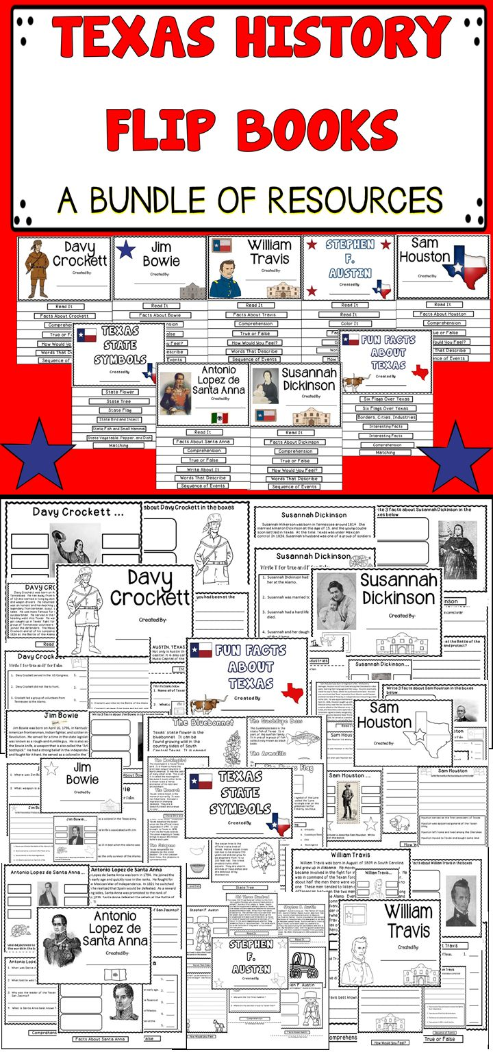 This Huge Bundle Of Texas History Flip Books Includes Fun And Engaging Activities For The Classroom! #texas
