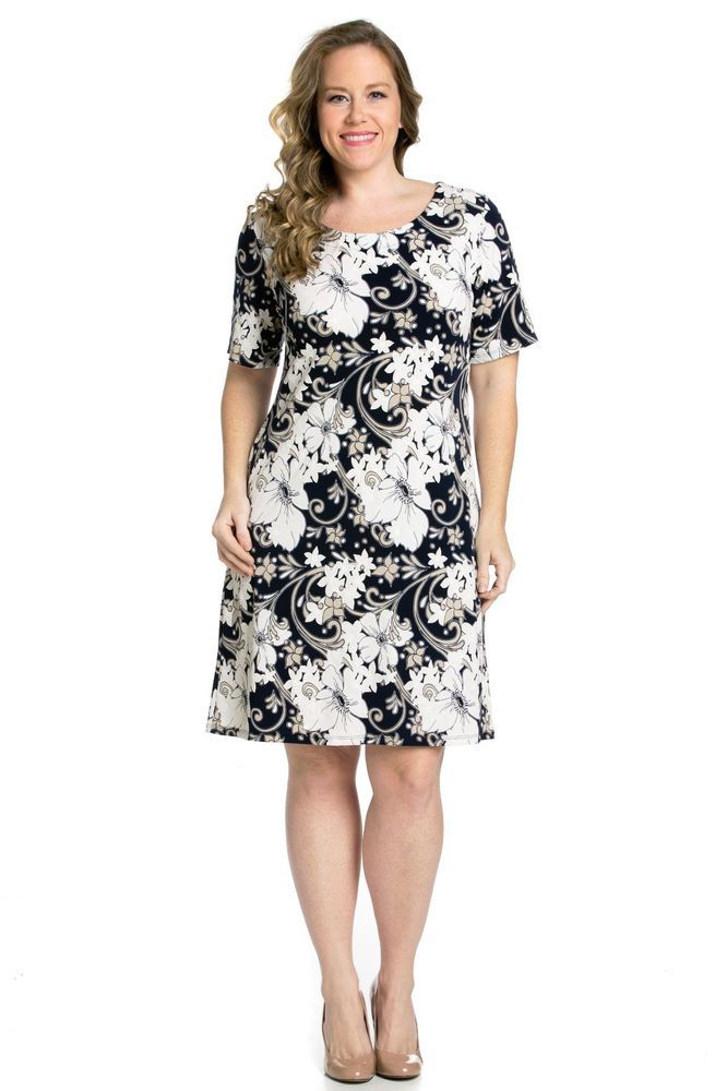 Navy Blue Casual Floral Patterned Plus Size Dress (2X or 3X) #ECPlusSize #ShirtDress #Casual