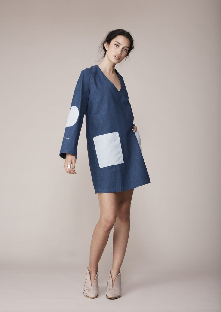 Binny - The Coorong Dress In Indigo Patches