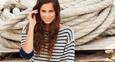 Un pull marinière manches trois-quarts, Katia, site Prima, modèle avec explications