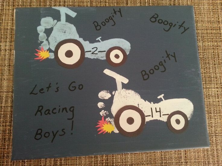 Foot And Hand Print Race Cars Gift For Grandfather