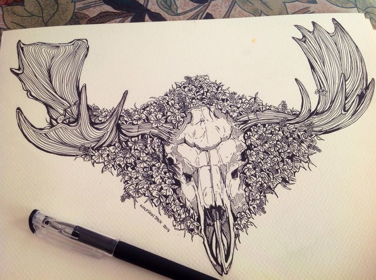Can't wait to see how my moose skull and family flowers tattoo is going to turn out been waiting forever to get it done