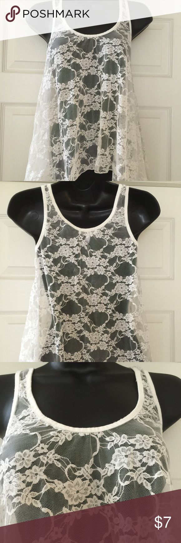 Cream lace top Like new flowy cream lace top delias Tops Blouses