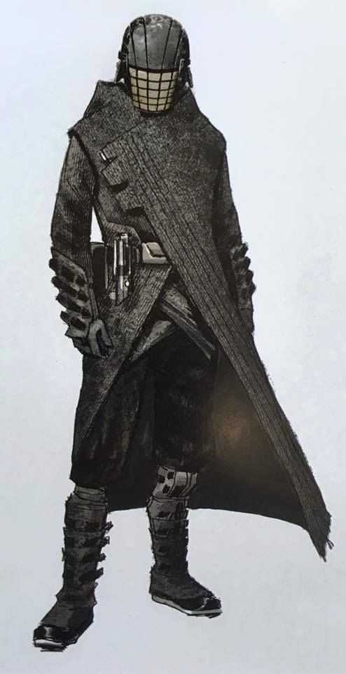 """Early concept art for the enigmatic Jedi Killer from """"Star Wars Episode VII The Force Awakens"""" (2015)."""
