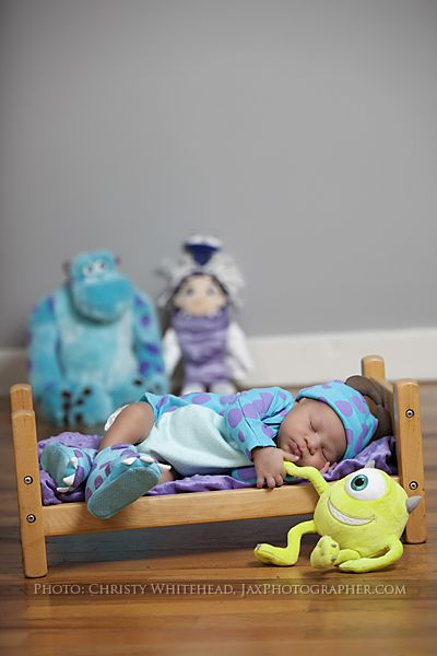 Adorable Pixar's Monster's Inc Set in our studio. Or on location. Pregnancy and newborn photographer in North Florida: Jacksonville, St. Augustine, Macclenny, Baldwin, Amelia Island www.ChristyWhiteheadPhotography.com