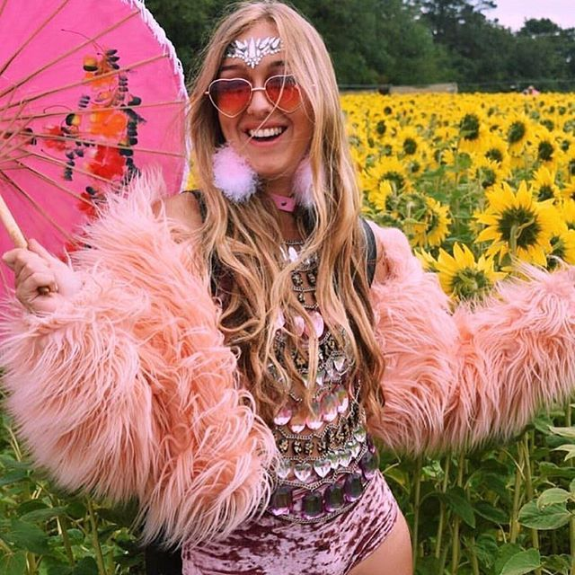 PINK TO MAKE THE BOYZ WINK @skyepetrie looking glam in our Unicorn Crown Face Jewel in a field of sunflowers at SGP! Today we are launching in TOPSHOP NOTTINGHAM! #thegypsyshrine #comefindtheshrine #secretgarden