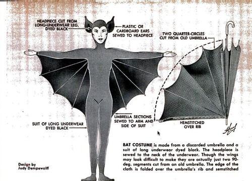 Make a bat costume from an umbrella and long underwear.    Popular Mechanics, 1963