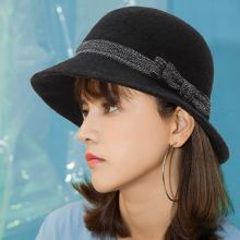 Black and white bow bucket hat for women wool felt hats winter wear – wool bucket hat with bow for ladies