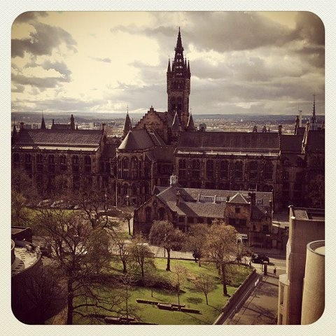 University of Glasgow. Gilbert Scott Building. View from the University Library #studyabroad