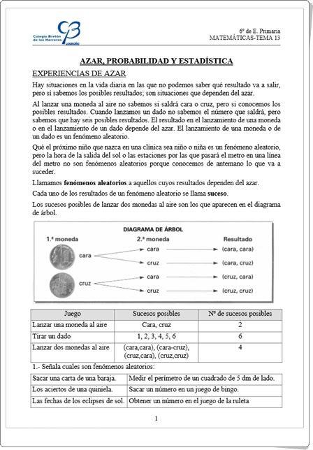 """""""Azar, probabilidad y estadística"""" es un muy buen conjunto de fichas de trabajo sobre el tema, elaborado por el Colegio Bretón de los Herreros de Logroño."""