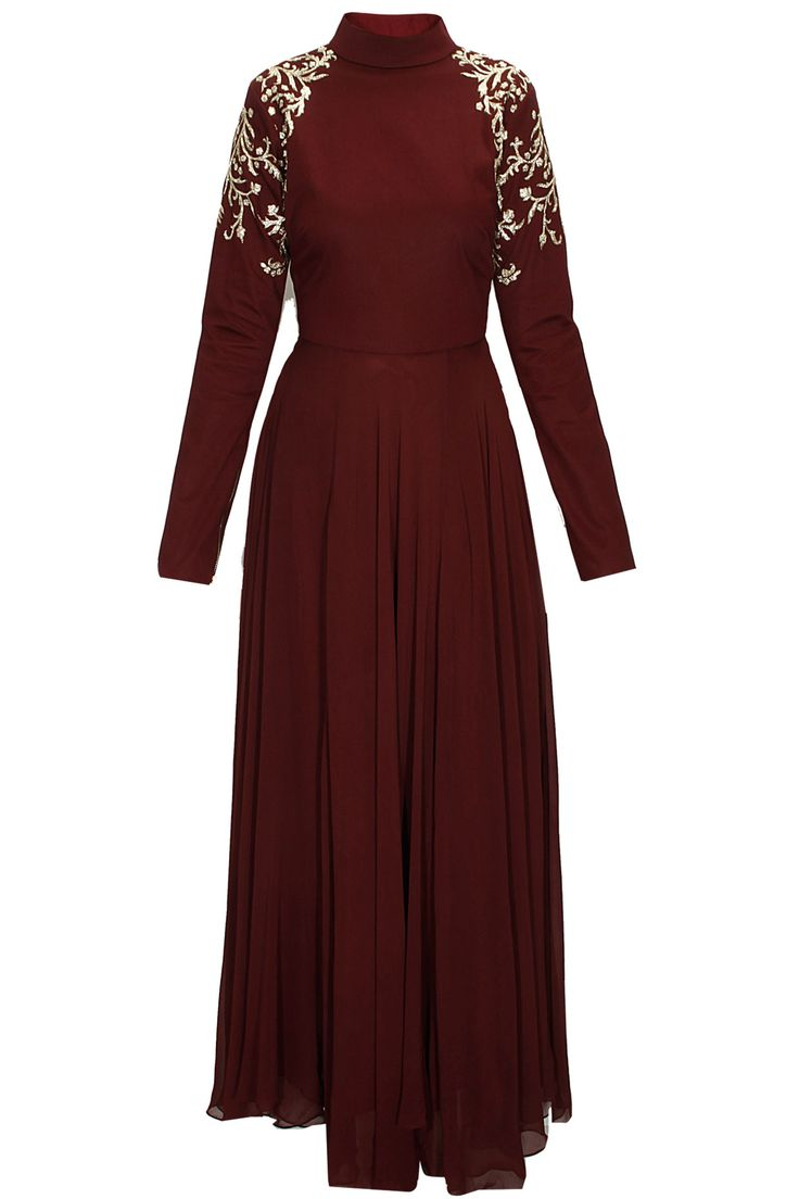 Maroon pitta embroidered anarkali set with offwhite net dupatta available only at Pernia's Pop-Up Shop.