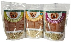 Try dehydrated dog food.  All the benefits of fresh homemade dog food, but simple with all the nutrients@  http://betterfoodfordogs.com/homemade-dog-food/