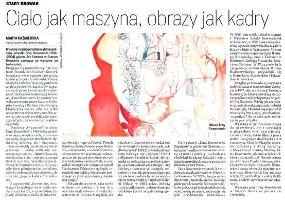 """2013.05.24 Gazeta Wyborcza Poznań """"Ciało jak maszyna, obrazy jak kadry"""""""