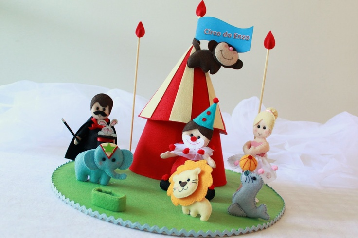 Boutique do Feltro Topo de bolo - circo