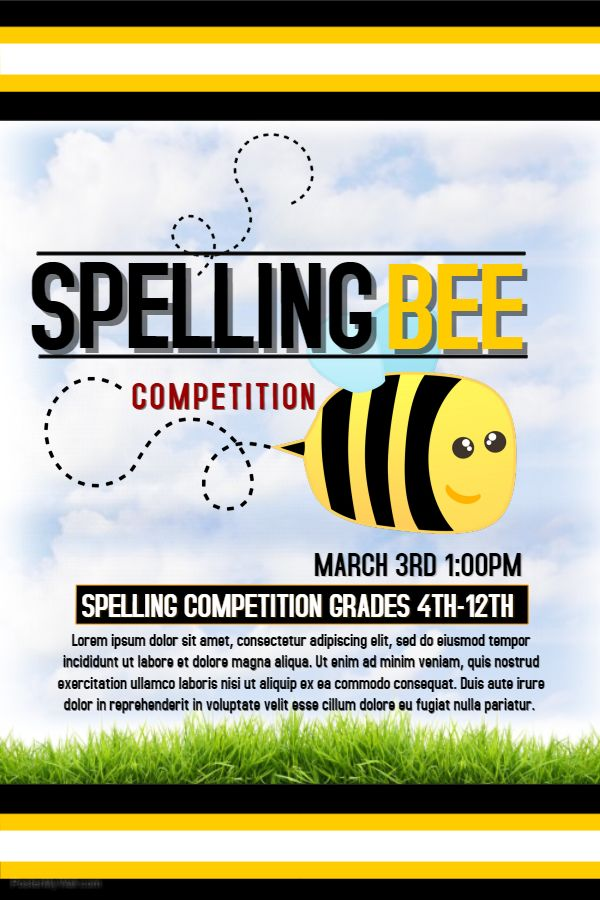 Children's Spelling Bee Competition Poster Template.