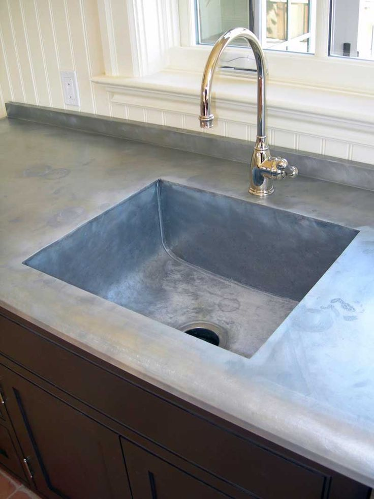 The Copperworks can fabricate an integral sink and countertop in zinc.