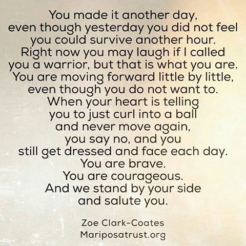 You made it another day even though yesterday you did not feel you could survive another hour. Right now you may laugh if i called you a warrior..... You are brave, courageous. And we stand by your side and salute you. Zoe Clark-Coates Mariposatrust.org