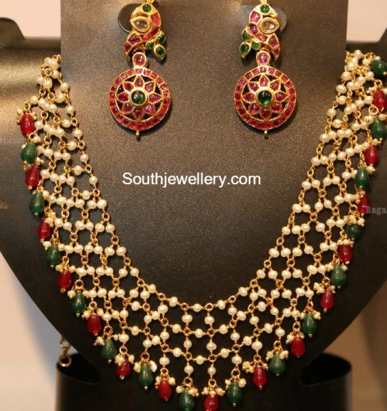 Pearl Necklace and Peacock Earrings photo