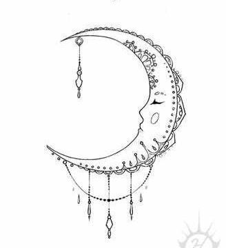 My first tattoo- black crescent moon tattoo with mandala features ...