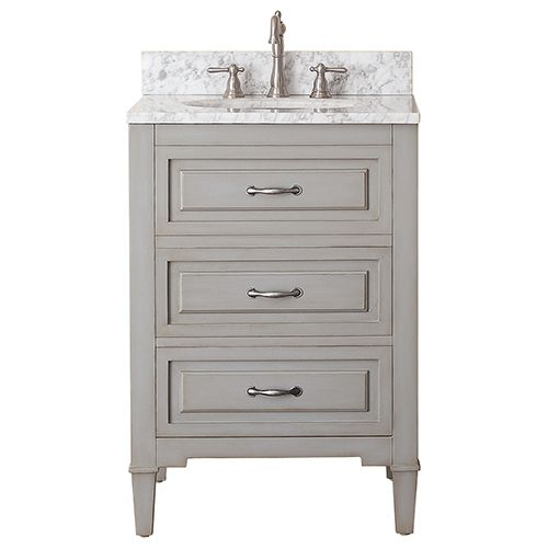 Avanity Kelly Grayish Blue 24 Inch Vanity Combo With White Carrera Marble  Top