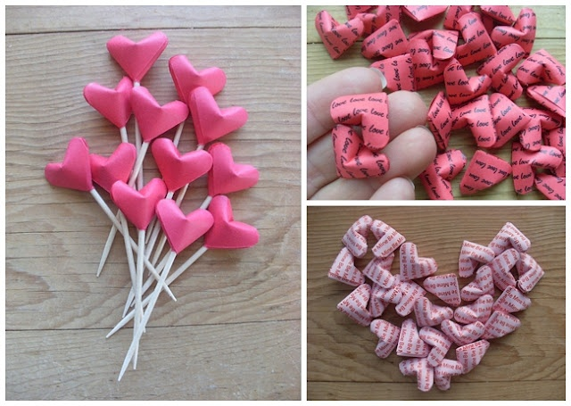 DIY your own 3D origami wedding hearts