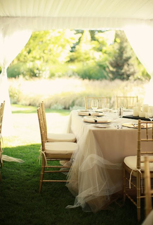 158 best diy tulle wedding decorations images on pinterest this diy tulle overlay gives the table an ethereal look junglespirit Choice Image