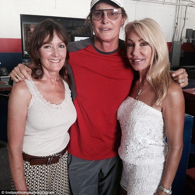 Bezzies: Linda Thompson (R) shared this snap of her and Bruce Jenner with his first wife C...