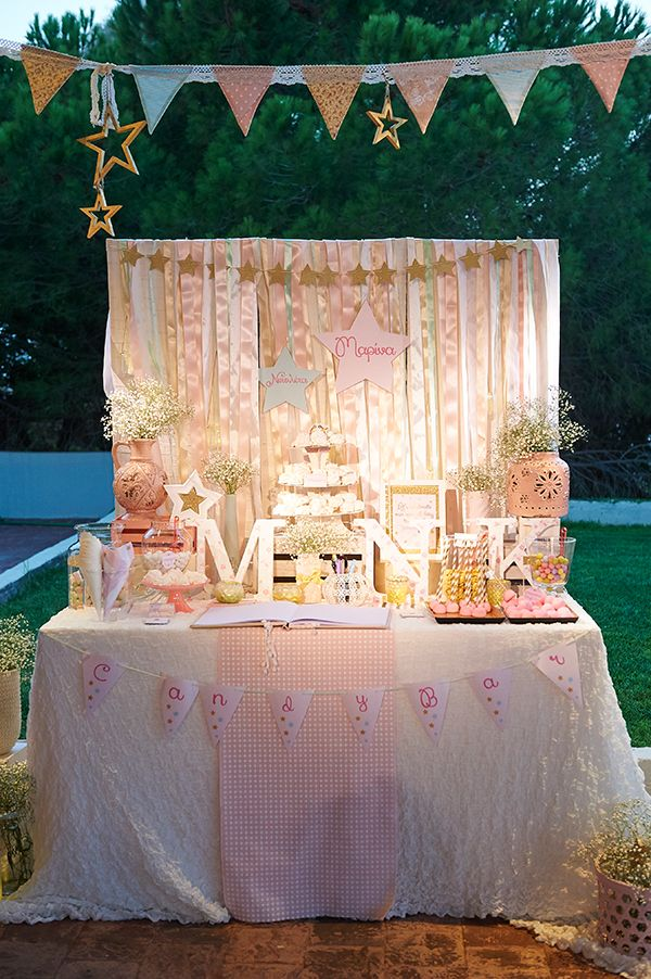 pink and gold baptism
